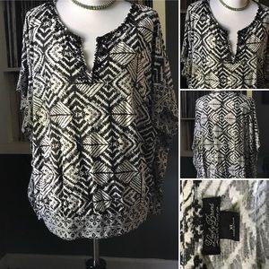 Lucky Brand Black White Geometric Vee Neck Blouse